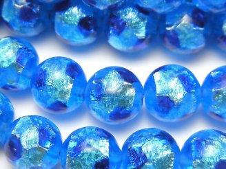 とんぼ玉 ラウンド12mm 【ブルー×ライトブルー/蓄光タイプ】 1/4連〜1連(約34cm)