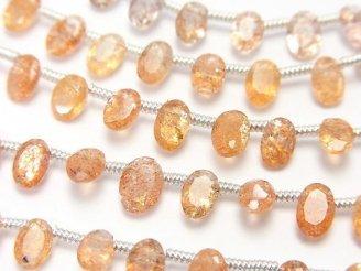 天然石卸 宝石質サンストーンAAA オーバルファセットカット6×4×3mm 半連/1連(18粒)