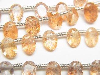天然石卸 宝石質サンストーンAAA オーバルファセットカット7×5×3mm 半連/1連(18粒)