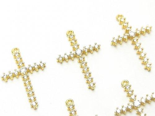 メタルパーツ 24×16mm クロス ゴールドカラー(CZ付) 1個