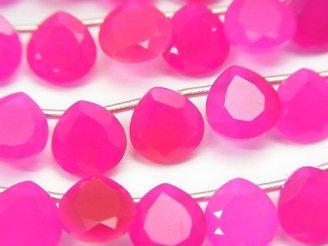 1連1,580円!宝石質フューシャピンクカルセドニーAAA マロン ファセットカット8×8mm 【ライトカラー】 1連(18粒)