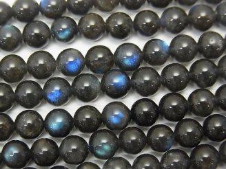 天然石卸 ブラックラブラドライトAA++ ラウンド6mm 半連/1連(約38cm)