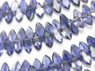 天然石卸 宝石質アイオライトAAA マーキス ファセットカット 半連/1連(約7cm)