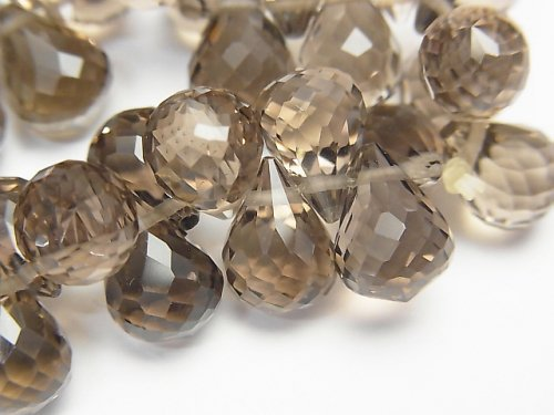 【動画】【素晴らしい輝き】宝石質スモーキークォーツAAA ドロップ ブリオレットカット 10×7×7mm 10粒・1連(ブレス)