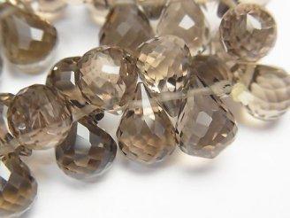 天然石卸 素晴らしい輝き!スモーキークォーツAAA ドロップ ブリオレットカット 10×7×7mm 10粒・1連(ブレス)
