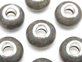 天然石卸 グレーウッド 大粒ロンデル14mm 【5mm穴】 5個280円!