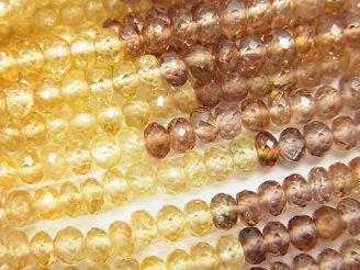 天然石卸 宝石質天然マルチカラージルコンAAA ボタンカット 半連/1連(約35cm)