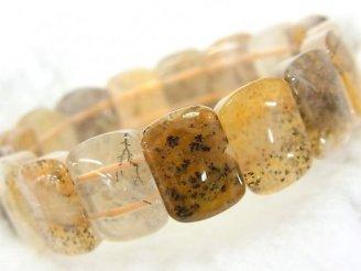 天然石卸 1点もの!デンドライトクォーツAA++ 2つ穴レクタングル15.5×11.5mm 1連(ブレス) NO.18