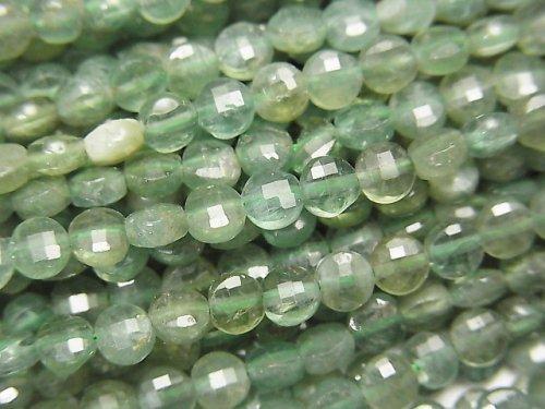 【素晴らしい輝き】グリーンアパタイトAA+ コインカット4×4×2mm 1連(約37cm)