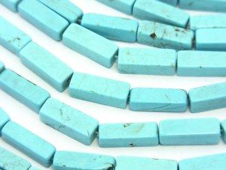天然石卸 1連480円!マグネサイトターコイズ 4面チューブカット13×4×4mm 1連(約38cm)