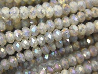 天然石卸 素晴らしい輝き!1連980円!ラブラドライトAA++ ボタンカット4×4×2.5mm コーティング 1連(約35cm)