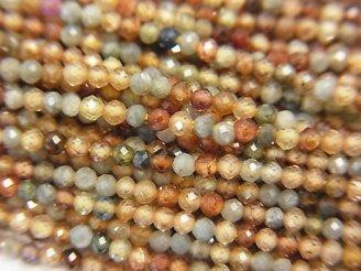 天然石卸 素晴らしい輝き!1連980円!宝石質天然ジルコンAAA 極小ラウンドカット2mm 1連(約38cm)