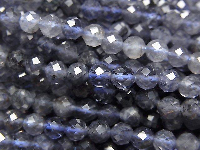 【動画】【素晴らしい輝き】宝石質アイオライトAAA- ラウンドカット4mm 1連(約38cm)の画像