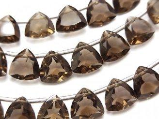 天然石卸 宝石質スモーキークォーツAAA トライアングルファセットカット10×10×5mm 半連/1連(18粒)