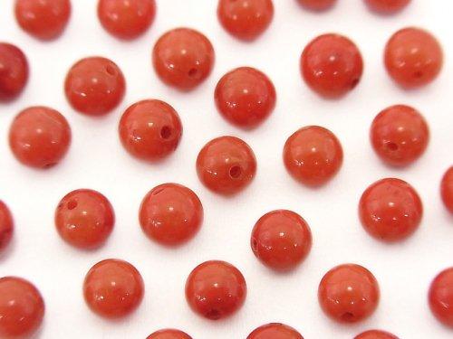 赤珊瑚・レッドコーラル(染) 片穴ラウンド5mm 10粒