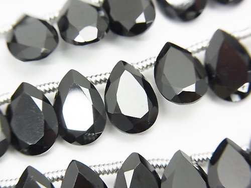 宝石質ブラックスピネルAAA ペアシェイプ ファセットカット10×7×3mm 半連/1連(28粒)