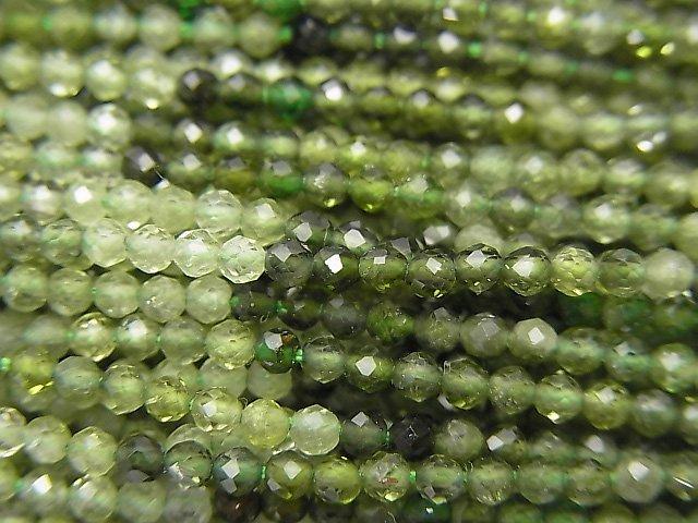 【素晴らしい輝き】宝石質グリーントルマリンAAA- 極小ラウンドカット2mm 1連(約32cm)
