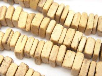 天然石卸 1連280円!ココナッツ スクエア〜レクタングルロンデル ナチュラルカラー 1連(約37cm)