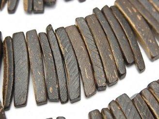 天然石卸 1連420円!ココナッツ スティック ブラウン クレオ穴 1連(約38cm)
