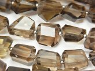 天然石卸 宝石質スモーキークォーツAAA' タンブルカット 半連/1連(約38cm)