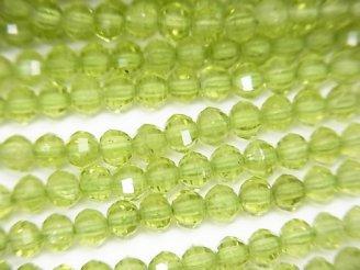 素晴らしい輝き!1連1,380円!宝石質ペリドットAAA ミラーセミラウンドカット4×4×3mm 1連(約37cm)