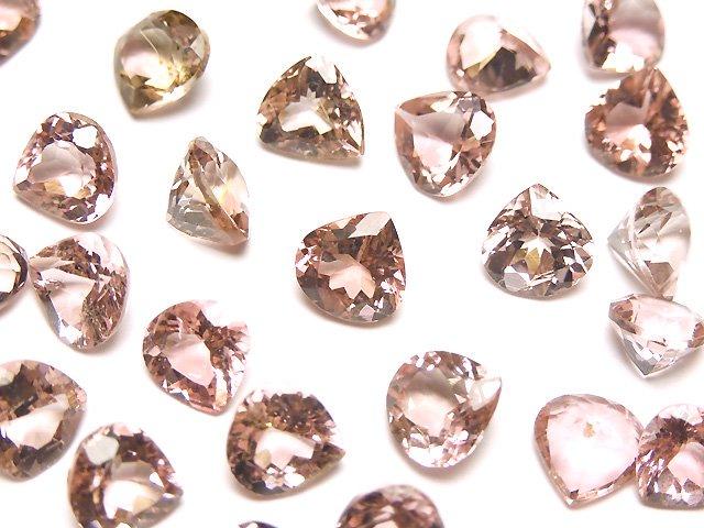 宝石質ピンクトルマリンAAA 穴なしマロンファセットカット6×6mm 2粒