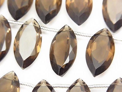 宝石質スモーキークォーツAAA マーキスファセットカット20×10×5mm 半連/1連(8粒)