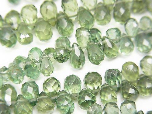 宝石質グリーンアパタイトAAA ドロップ ブリオレットカット 半連/1連(約18cm)
