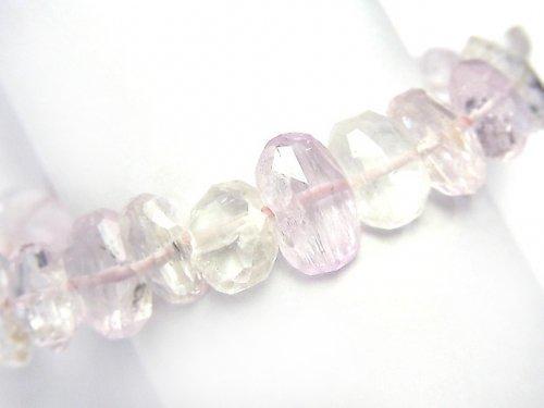 【1点もの】宝石質アフガニスタン産クンツァイトAAA 横長タンブルカット 1連(ブレス) NO.6