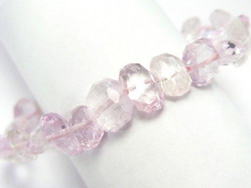 【1点もの】宝石質アフガニスタン産クンツァイトAAA 横長タンブルカット 1連(ブレス) NO.10