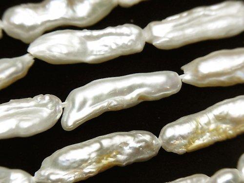 【動画】淡水真珠・ケシパール スティック18〜20mm ホワイト 1連(約37cm)