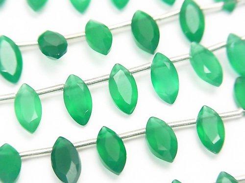 宝石質グリーンオニキスAAA マーキス ファセットカット8×4mm 1連(約13cm)