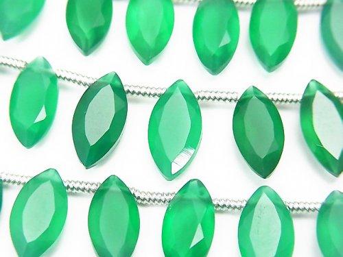 宝石質グリーンオニキスAAA マーキス ファセットカット12×6mm 1連(約13cm)