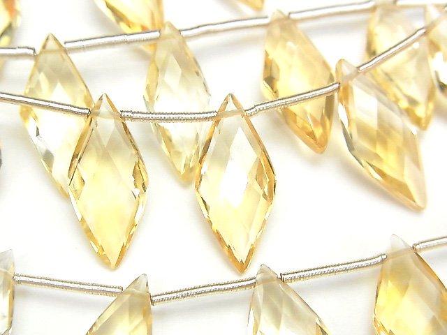 【動画】宝石質シトリンAAA ダイヤカット18×8mm 半連/1連(約13cm)