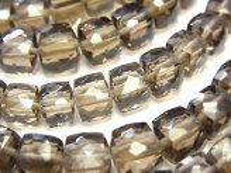 天然石卸 1連1,480円〜!宝石質スモーキークォーツAAA- キューブカット 1連(約18cm)