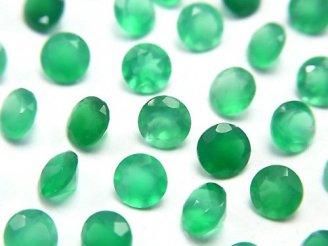 天然石卸 宝石質グリーンオニキスAAA 穴なしラウンドファセットカット5×5mm 10粒480円!