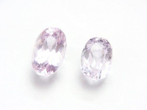【1点もの】宝石質クンツァイトAAA オーバル型ファセットカット 2粒セット NO.133