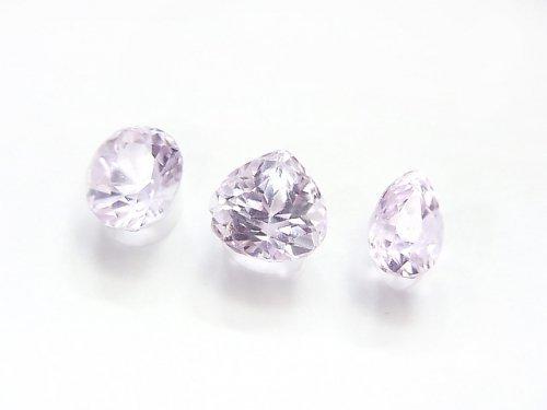 【1点もの】宝石質クンツァイトAAA オーバル・ペアシェイプ・マロン型ファセットカット 3粒セット NO.136
