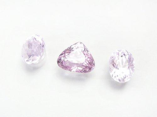 【1点もの】宝石質クンツァイトAAA オーバル・マロン型ファセットカット 3粒セット NO.140