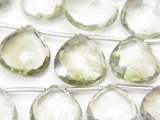 天然石卸 1連2,980円!宝石質グリーンアメジストAAA- 大粒マロン ブリオレットカット 1連(約24cm)