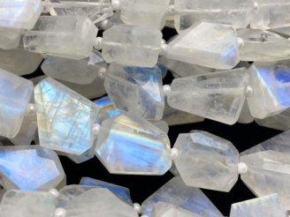 天然石卸 宝石質レインボームーンストーンAAA- タンブルカット 【S〜Mサイズ】 半連/1連(約33cm)