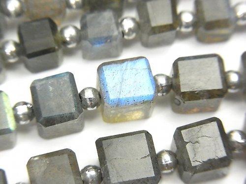 宝石質ラブラドライトAA++ キューブカット 1連(約18cm)