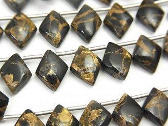天然石卸 コッパーオブシディアンAAA ダイヤ10×8mm 半連/1連(22粒)