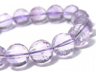 天然石卸 1点もの!宝石質ローズアメジストAAA- ミラーラウンドカット13mm 1連(ブレス) NO.80