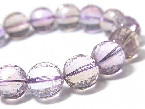 【1点もの】宝石質アメトリンAAA- ミラーラウンドカット12mm 1連(ブレス) NO.81