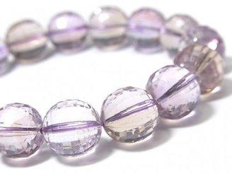 天然石卸 1点もの!宝石質アメトリンAAA- ミラーラウンドカット12mm 1連(ブレス) NO.81