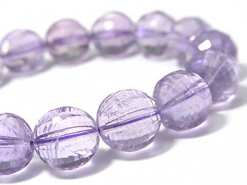 【動画】【1点もの】宝石質ローズアメジストAAA- ミラーラウンドカット13mm 1連(ブレス) NO.83