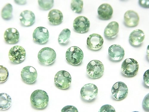 【動画】宝石質グリーンカイヤナイトAAA 穴なしラウンドファセットカット4×4mm 5粒