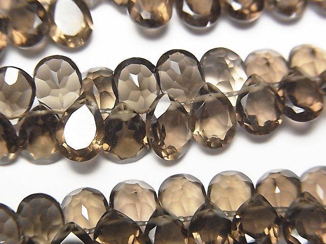 宝石質スモーキークォーツAAA ペアシェイプ ファセットカット7×5×3mm 1連(28粒)