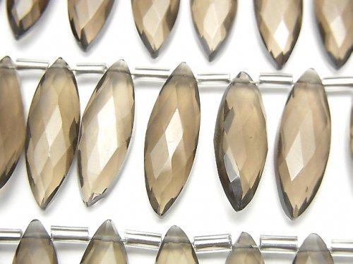 宝石質スモーキークォーツAAA マーキスカット20×6mm 1連(約10cm)